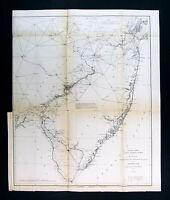 1881 US Coast Survey Map New Jersey York Manhattan Trenton Philadelphia Beaches