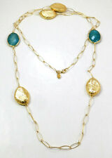 Natural Blue Aventurine Gold Plated Long Necklace 925 Sterling Silver MN3853