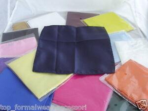 "Any Colour Mens-Children Polyester Pocket Hankie- 9"" x 9"" = 23cm x 23cm- Squares"