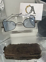 Rare Mid 1800's 'D' Shaped Railway Blue Tinted Spectacles