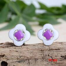 Cute New Silver White & Purple Enamel Button Style Stud Earrings w/Omega Clasp