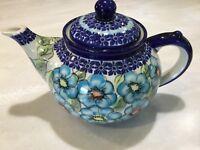 New POLISH POTTERY Cer-Maz Teapot-Unikat -Large Blue Floral Pattern