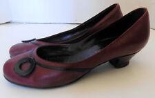 Vintage Burgundy Round Toe Shoes Black Trim Bally Paul Prange 7