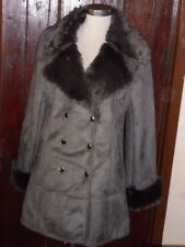 KLASS SIZE 16 GREY FAUX SUEDE FUR TRIM COLLAR & CUFFS DOUBLE BREASTED COAT