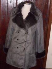 Klass Talla 16 gris ribete de piel de imitación de gamuza cuello y puños de doble abotonadura Abrigo