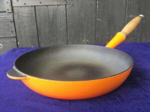 COUSANCES LE CREUSET 24cm French Cast Iron Enamel Skillet Sauce Frying Pan Pot