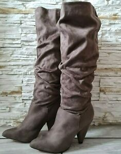 Womens Taupe Under The Knee Boots Cone Mid High Heel Pull On Shoes Size 6.5  7.5
