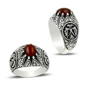 Solid 925 Sterling Silver Carnelian Gemstone Boys Mens Signet Ring Jewelry