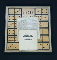 Drueke Double Six Domino Set Wood & Plastic with Counter Board & Case