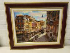 Vintage Perisian Oil Painting Street Scene Framed