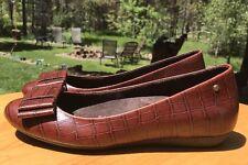 Rockport Adiprene Women's Brown Leather Croc Ballet Flats w/ Bows Size 7M US