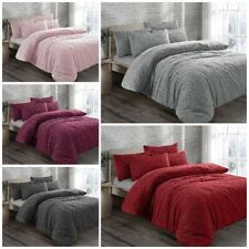TEDDY BEAR WARM ,SOFT FUR SHERPA CUDDLY FLEECE DUVET COVER SET & THROWS SALE