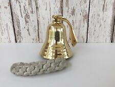 Solid Brass Ship Bell w/ Rope Lanyard & Bracket ~ Hanging Wall Decor ~ Nautical