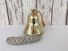 Solid Brass Ship Bell w/ Rope Lanyard & Bracket ~ Hanging Wall Decor ~ Nautical