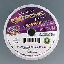 Soft Flex Extreme 24k Gold Beading Flex Wire .019inch 30ft Round Metallic