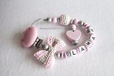 Schnullerkette mit Namen Schleife Herz rosa silber Mädchen Geburt Taufe Geschenk