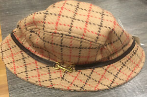 NWOT COACH Classic Camel Red Brown Plaid Wool Woman's Bucket Hat Fedora M/L