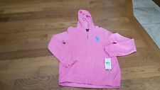 Polo Ralph Lauren girl's pink terry hooded jacket size L NWT $55