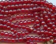 Vintage Antique Glass BEADS RED BERRY Round Pearl Luster Sheen Spacers lot 3mm
