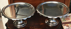 """A Pair Of Modern White Metal Cake Stands. 13"""" X 6.5"""""""