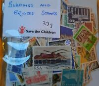 100's of Mint and Used World thematic postage stamps depicting BRIDGES&BUILDINGS