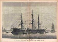 Navire frégate cuirassée Le Magenta Aquarelle Musée de la Marine GRAVURE 1875