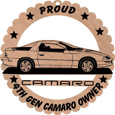 4th Generation Camaro Side View Wood Ornament Laser Engraved 5 3/4 Inch Round