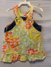 Oilily Girls Toddler Dress Size 86 24 Months Denim Ruffle Floral Summer G14