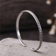 Solid 925 Sterling Silver Mens Patterned Open Bangle Cuff Bracelet