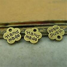 50pcs Antique Bronze Hand Made Tag Charm Plum Flower 8mm Bead Mini Pendants P252