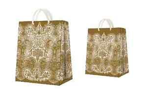 Printed Paper Gift Present Bag FAIRY ORNAMENT GOLD Wedding Medium Large
