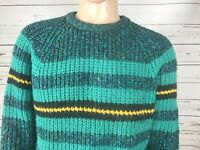 VTG 90s Concrete Mix Mens Large Cosby Sweater Green Acrylic Saved By The Bell