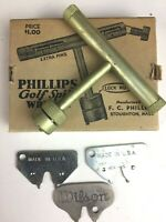 Vintage Phillips Golf Spike Wrench Tool with 4 Extra Spikes in Original Box