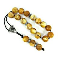 Greek komboloi/ worry beads with yellow marble colored beads and silver details