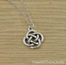 Silver Celtic Knot Charm Necklace - Irish St Patrick's Gaelic Pendant Jewelry