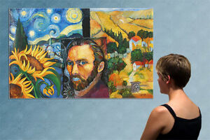 """57"""" - REMEMBER van GOGH  - huge original  painting oil on canvas by ANNA !!!!!"""