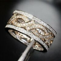 925 Silver White Topaz Band Ring Two Tone Gold Fashion Wedding Jewelry Size 6-10