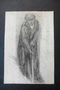 DUTCH SCHOOL 19thC - MAN WORKING ON A FIELD - CHARCOAL CIRCLE VAN GOGH