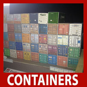 1:87 HO Rail Freight Cargo Shipping Containers Set of x 3, 6 or 12 20ft Models