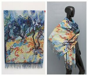 Handmade Painted Large Scarf 50 % Cashmere 50% Viscose Shawl Art Nature Trees
