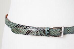 Genuine Snakeskin Belt - Aqua Blue - Slim - Small
