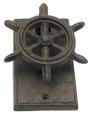 Cast Iron Ship Wheel Knocker Rustic Brown Nautical Decor