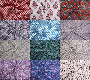 "Indian Block Printed Cotton Fabric 3 Meter 44"" Width Handmade Crafting Fabric"