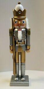 """15"""" TALL SILVER AND GOLD GUARD WOODEN CHRISTMAS NUTCRACKER 682J"""