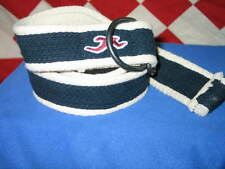 Hollister Men's Rugged Navy Blue and white Canavas belt size 32