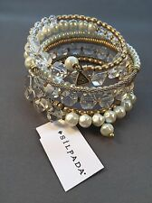 Silpada Practical Pearls Glass Gold Brass Swarovski Crystals Bracelet NWT-WOW!