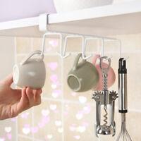 8 Hooks Under Shelf Mug Cup Metal Holder Cupboard Kitchen Organiser Hanging
