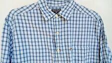 RALPH LAUREN POLO Mens Shirt L LG Large 34/35 Plaid Blue 100% Cotton Long Sleeve