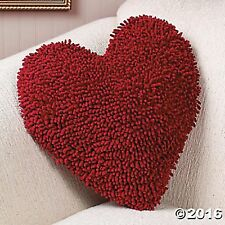 """Red Heart Chenille THROW PILLOW 13"""" Brand New VALENTINE,HOME DECOR,LOVE"""