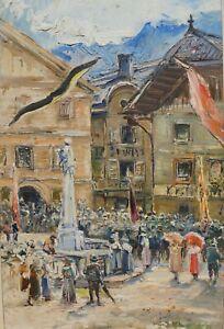 Carl Kaiser-Herbst, Kaisergeburtstag in Hallstatt, 1906, Blattgoldrahmen